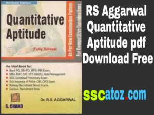 RS Aggarwal Quantitative Aptitude pdf Download Free