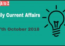 Current affairs 27th October 2018 : Daily GK update