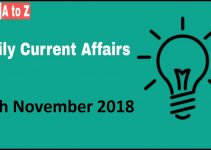 Current affairs 8th November 2018 : Daily GK update