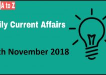 Current affairs 9th November 2018