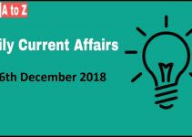 Current Affairs 26th December 2018